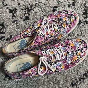 Floral lace up vans